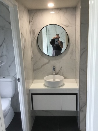 bathroom renovation with new vanity and tiling at Avocado Constructions