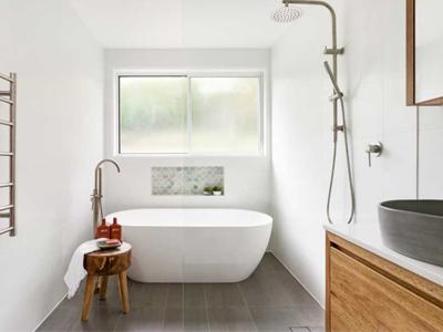 brisbane bathroom renovation used by Avocado Constructions white matte freestanding bath