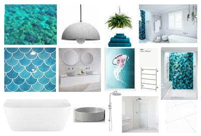 bathroom renovation mood board under the sea designed by Avocado Constructions in house designer