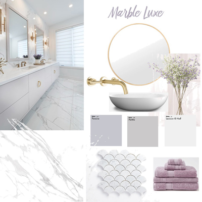 choose your bathroom design style marble lux mood board at Avocado Constructions