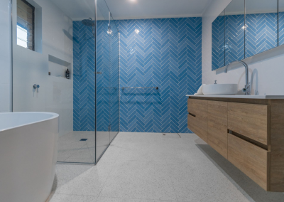 bathroom renovation belmont blue tile feature wall with Avocado Constructions