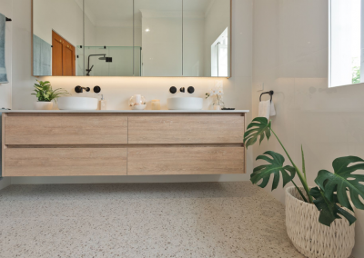 bathroom renovation in wilston using a double timber vanity with Avocado Constructions