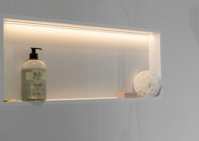 led lighting used in bathroom renovaiton in wilston with Avocado Constructions