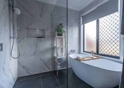 marlbe bathroom renovation in calamvale with Avocado Constructions