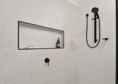 terrazzo tiles in bathroom renovation red hill with Avocado Constructions